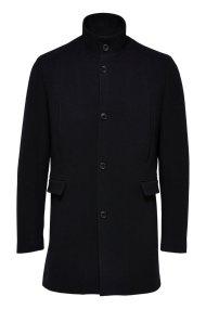 SELECTED ανδρικό παλτό wool με σηκωμένο γιακά - 16064355 - Μαύρο