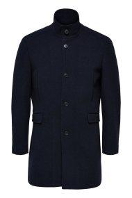 SELECTED ανδρικό παλτό wool με σηκωμένο γιακά - 16064355 - Μπλε