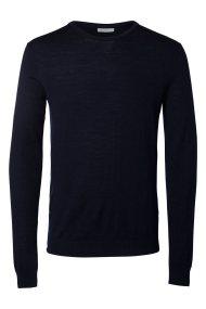 SELECTED ανδρική μπλούζα πλεκτή Merino Wool μονόχρωμη - 16047949 - Μπλε Σκούρο