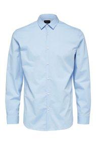 SELECTED ανδρικό πουκάμισο Slim fit μακρυμάνικο - 16063573 - Γαλάζιο