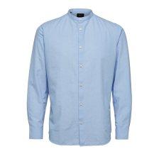Selected ανδρικό λινό πουκάμισο με μαό γιακά - 16067893 - Γαλάζιο