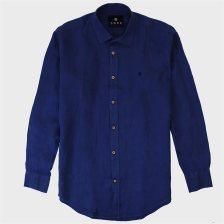 DORS ανδρικό λινό πουκάμισο μονόχρωμο - 1028026.C03 - Μπλε