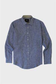 DORS ανδρικό πουκάμισο μονόχρωμο - 1028034.C02 - Χακί