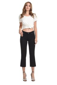 Sarah Lawrence Jeans γυναικείο παντελόνι cropped με ζακάρ ύφασμα - 2-900215 - Μαύρο