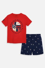 Mayoral παιδικό σετ ρούχων T-shirt με print και βερμούδα - 3618 - Μπλε Σκούρο
