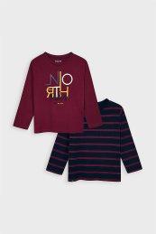 Mayoral παιδικό σετ ρούχων 2 μπλούζες με print (3 - 9 ετών) - 4043 - Μπορντό