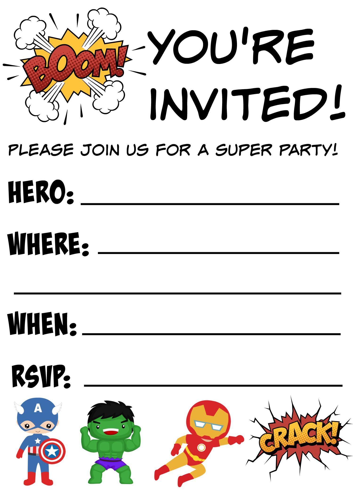 free printable superhero birthday