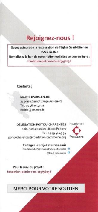 Ars-en-Ré - Eglise - Flyer Fondation du Patrimoine - Avril 2018