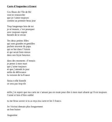 Retranscription lettre guerre 14-18