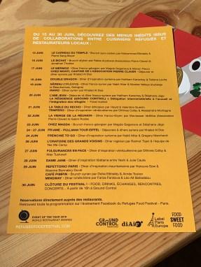 Agenda Refugee food festival 2019