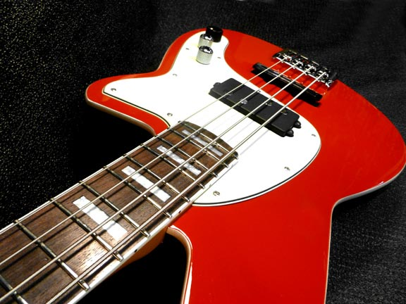 Reverend Decision Bass - Party Red finish angle view