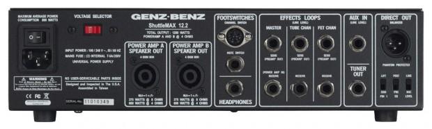 Genz Benz Shuttle Max 12.2 Bass Amp - rear