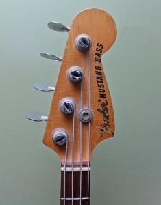 1967 Fender Mustang bass - headstock