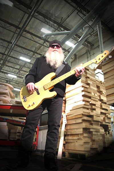 Dusty Hill with Blonde Fender Custom Shop Dusty Hill Precision