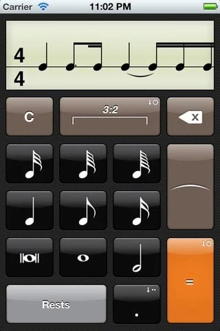 Rhythm Calculator screen example