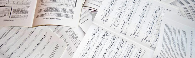 Piles of sheet music
