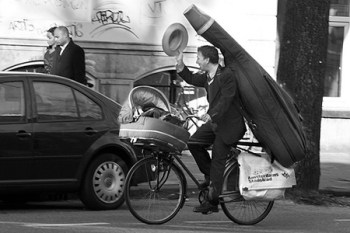 Bassist by bicycle