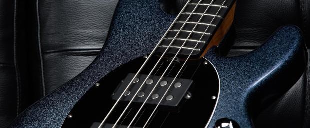 Ernie Ball Music Man Starry Night Bass Closeup angle