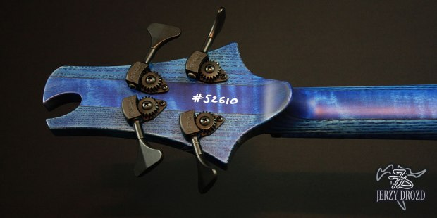 "Jerzy Drozd Soul IV ""Matisse"" Bass Cobalt Blue Back of Headstock"