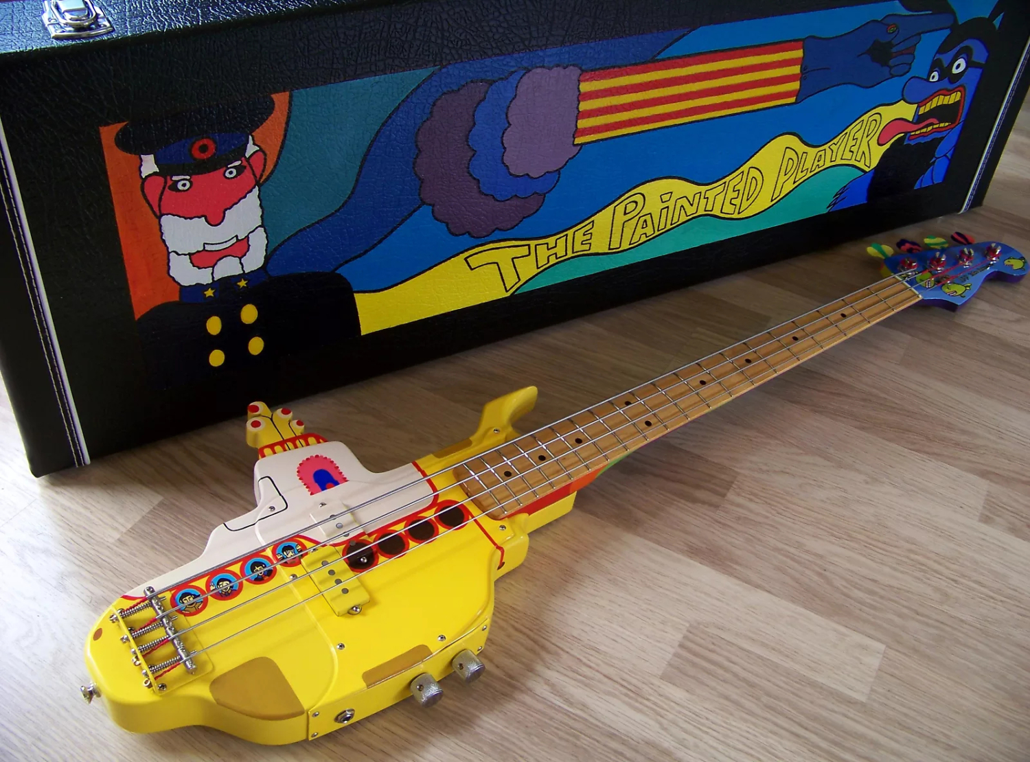 The Painted Player Yellow Submaring Bass with Case