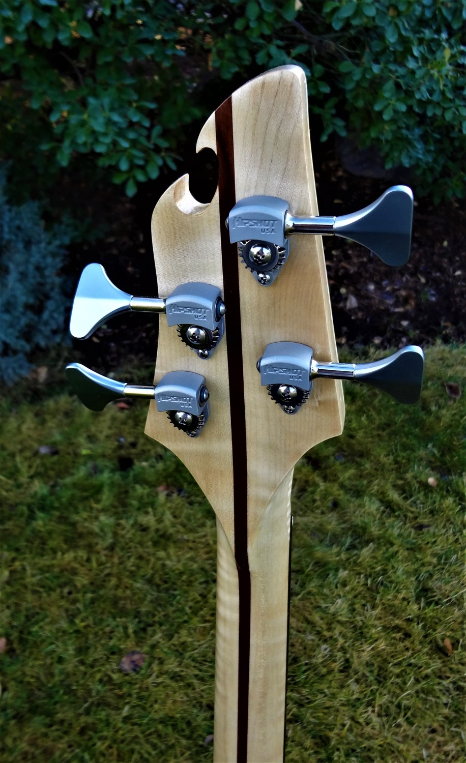 R. Low. Vaughn 34 Scale Four-String Bass Back of Headstock