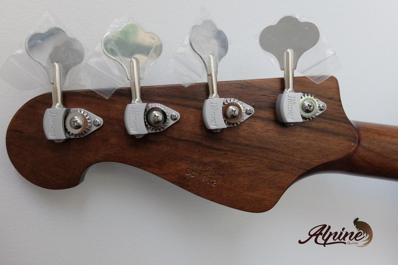Alpine Guitar Black Bison Bass Back of Headstock