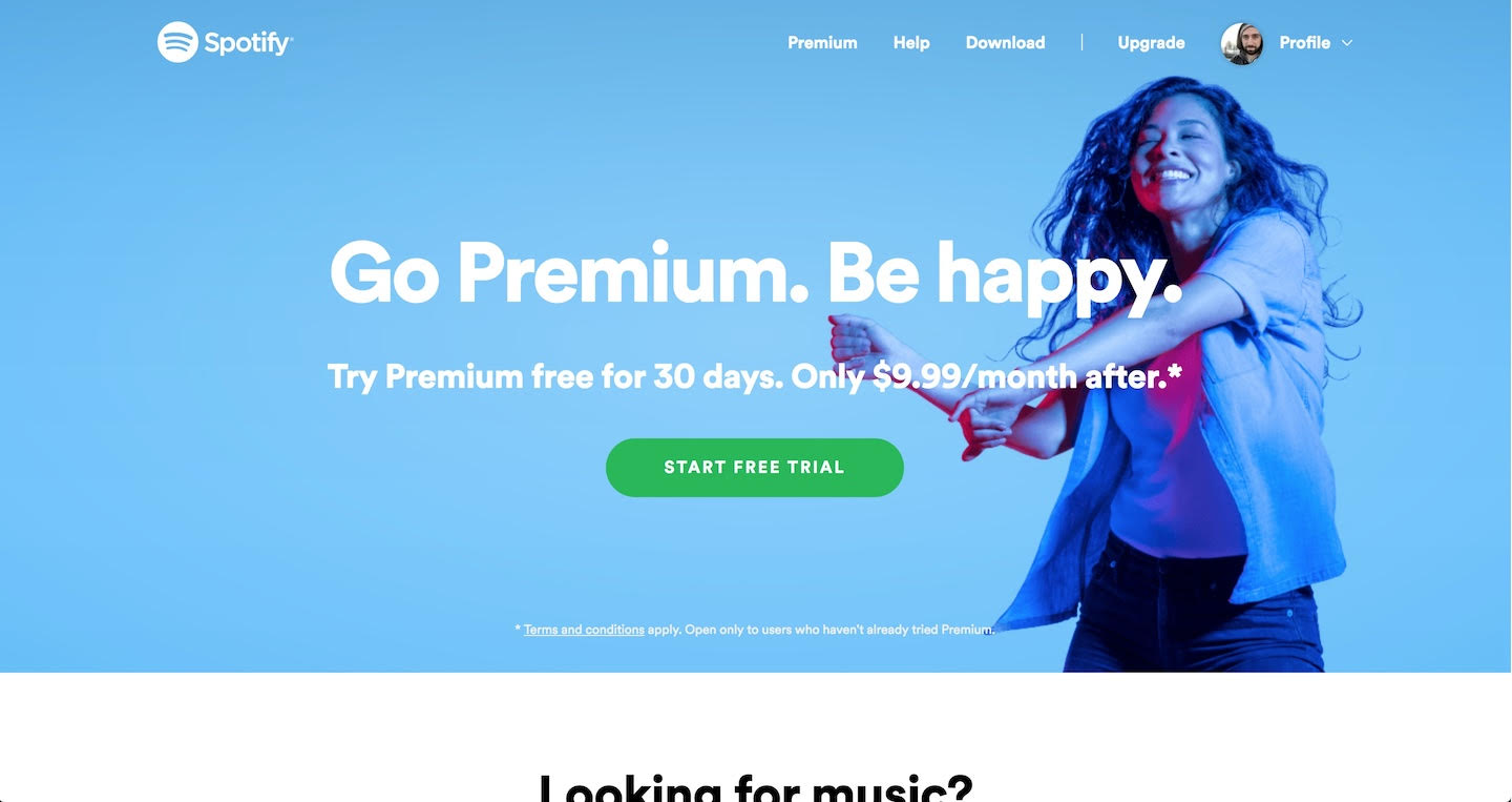 Spotify splash page