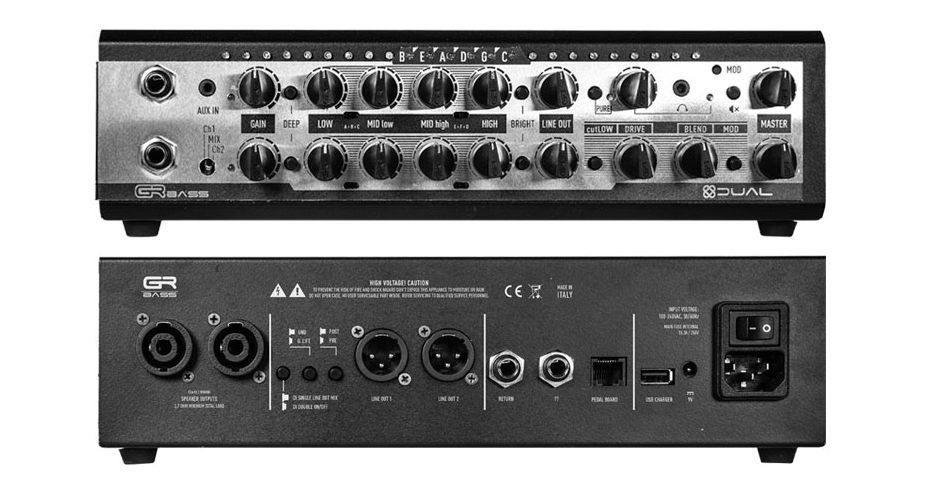 GR Bass Dual800 Bass Amp front and back