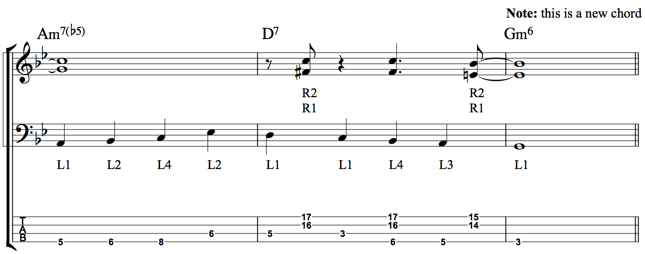 Developing Simultaneous Chordal and Bass Line Accompaniment - Fig 5b