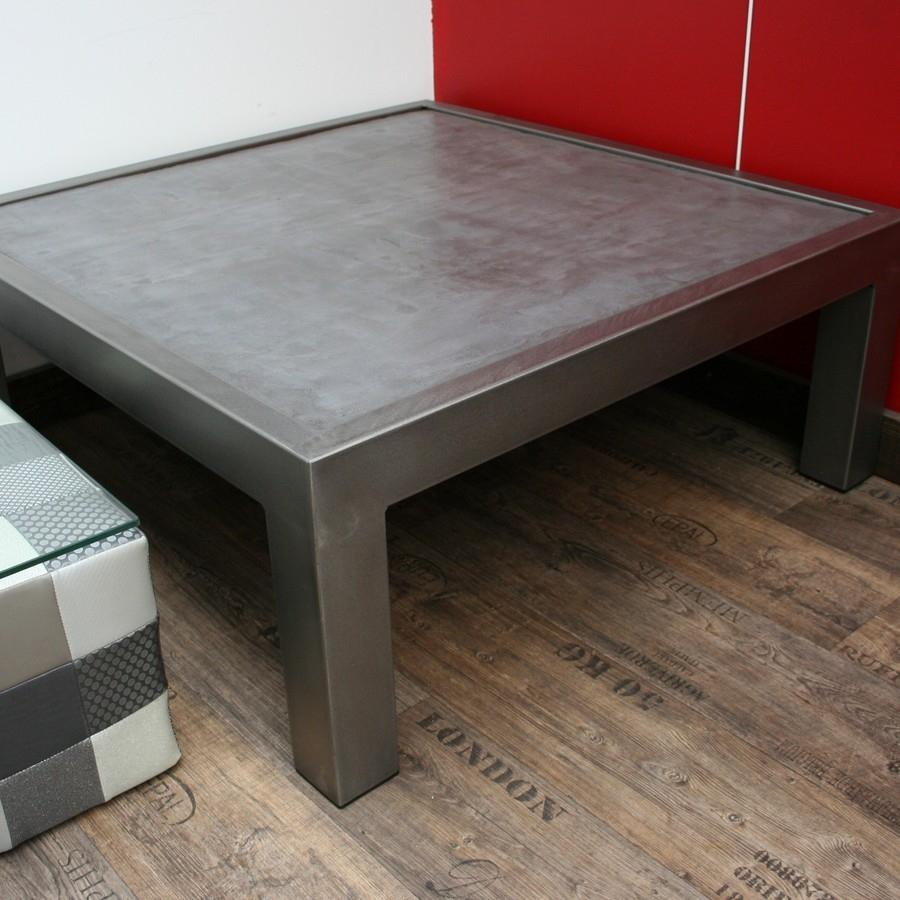 Table Basse En Acier Avec Plateau Bton