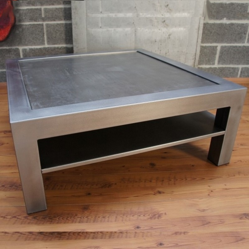 Table Basse Metal Beton Tablette Rangement