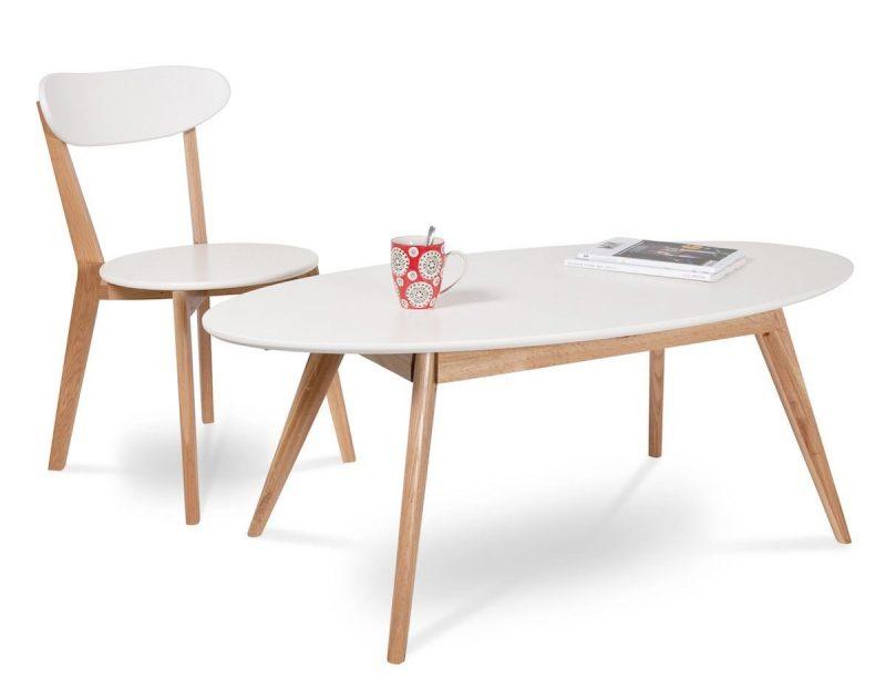 Table Basse Design Scandinave Bois Brut Et Blanc