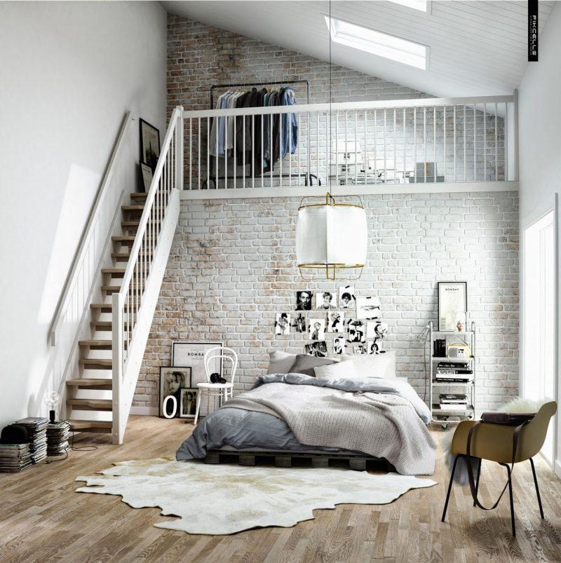 Chambre dco scandinave dans un loft
