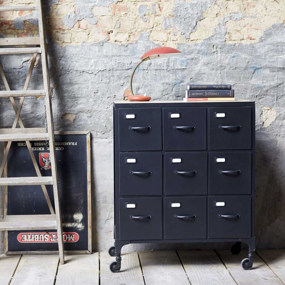 Commode mtal style industriel