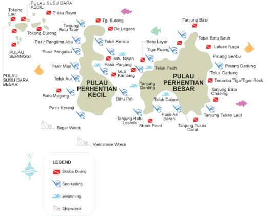 Différents spots de plongée des Perhentian