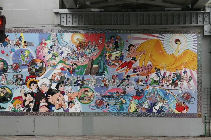 Fresque Ozamu Tezuka, papa d'Astro et Princesse Saphir