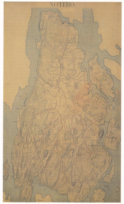 Nøtterøy-kart fra ca. århundreskiftet med bygdeveinettet den gang