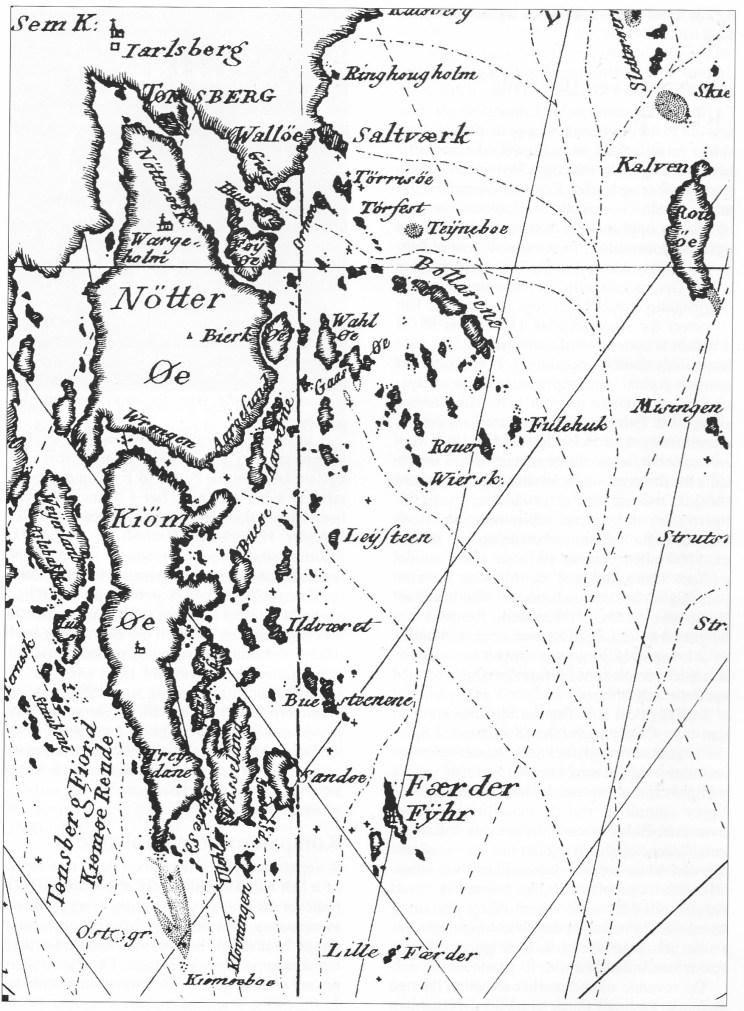 Utsnitt av sjøkart over Oslofjorden utgitt av Det Kgl. Danske SjØkartarkiv i 1803. Vi ser at Bolærne (Bollarene) ligger sentralt til ved innseilingen som er merket med stiplet linje. Bolærne var derfor tidligere en viktig losstasjon.