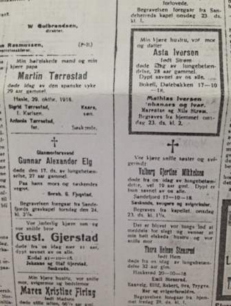 Dødsannonser i Sandefjords blad, oktober 1918.
