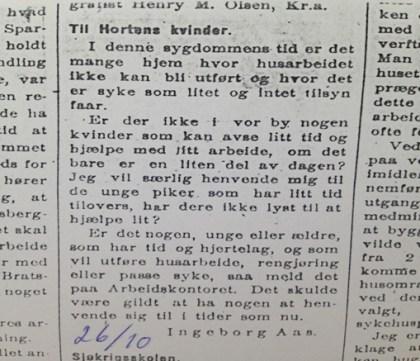 Oppfordring i Gjengangeren 26/10-1918
