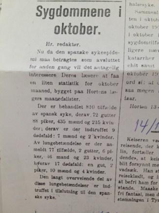 Statslege i Horten, Thorvald Meyer, til Gjengangeren 14/11-1918.