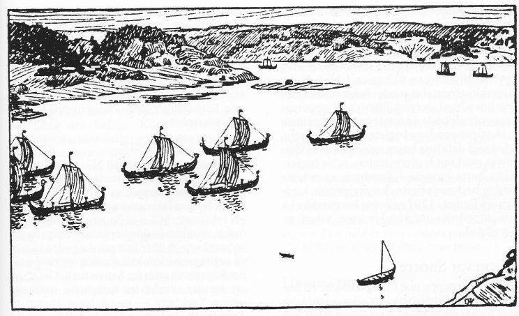 Kong Olav den hellige seiler ut fra Tønsberg. Danholmen og Rambergodden i bakgrunnen.