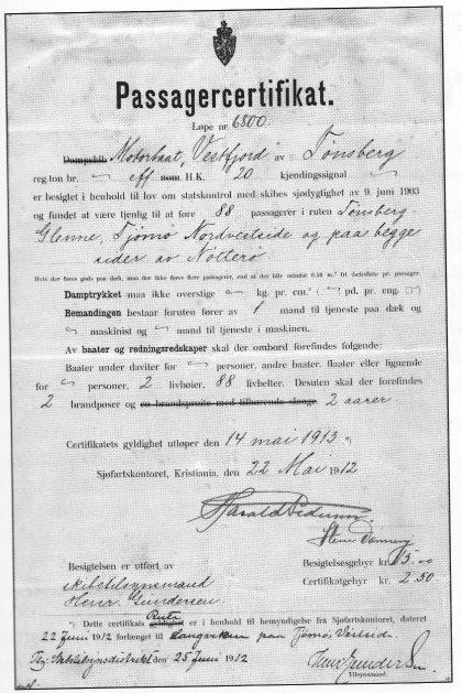 """Passasjersertifikatet for """"Vestfjord"""" fra 1912."""
