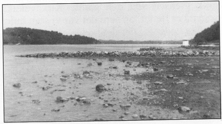 Restene av den gamle fjordbåtbrygga i Munkerekka. Fyrlykta på Munkholmen og Ramberg i bakgrunnen.