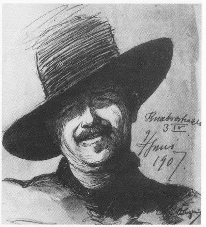 Selvportrett tegnet i Knæbrostredet 3 IV i København den 9. juni 1907 og forært Ragnhild Jølsen. Linnestad: Dørnberger — Maler og Musketér.