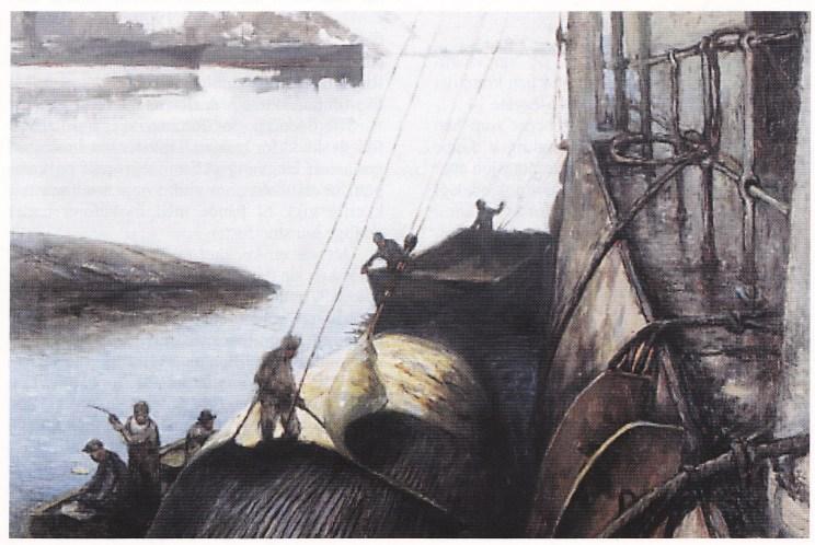 Dørnberger: Hvalen flenses, 1926 - 28. Sandefjordmuseene.