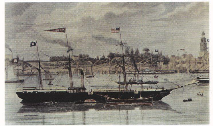 «Hybrid-dampskipet» Helena Sloman, Tysklands første transatlantiske dampskip. Ført av Paul Nickels Paulsen på den suksessrike turen til New York i mai 1850, såvel som under forliset utenfor New Found-land i november samme året. Quedens: Inseln der Seefahrer.