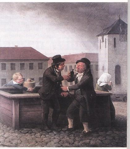 Drukkenskap. To kusker tar seg en støyt ved vannposten, men det er neppe vann de drikker. Bildet er malt av Johannes Flintoe omkring 1820 - fra hans side som et ledd i kampen mot den omfattende drukkenskapen.