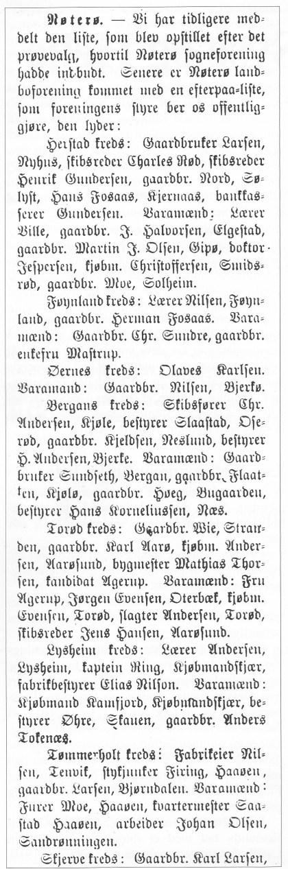 Nøterø Landboeforenings «etterpåliste» ved valget 1910 (Faksimile fra Tønsberg Blad).