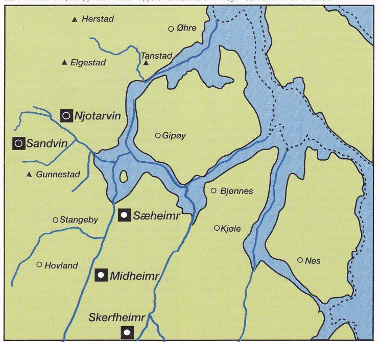 Kart 2: Midtre Nøtterøy ved 5 meter høyere vannstand enn nå, for ca. 1200-1300 år siden.